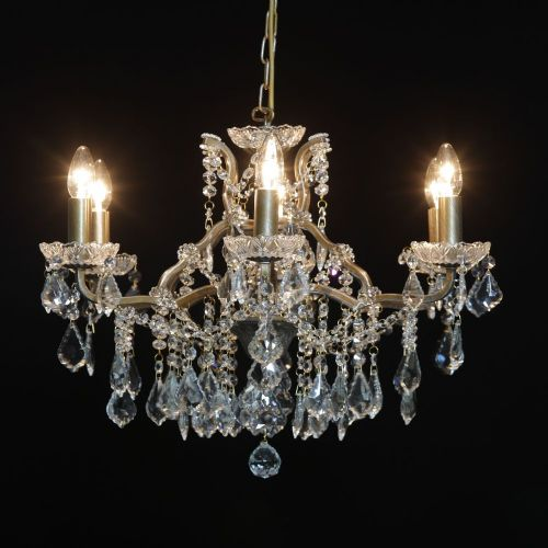 Antique French Cut Glass Gold Chandelier 6 arm